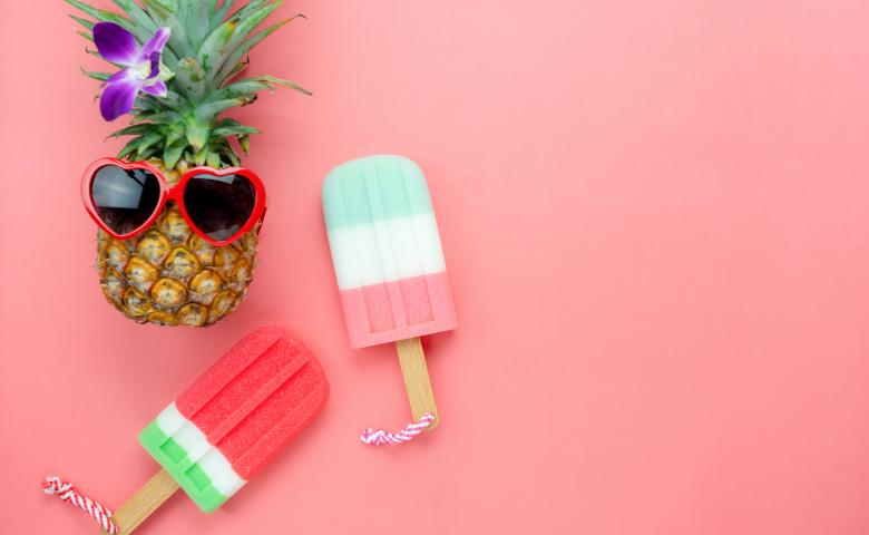 Pineapple Wearing Sunglasses with Popsicles