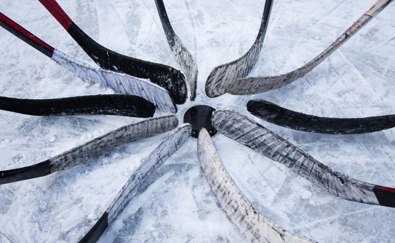 hockey sticks in a circle